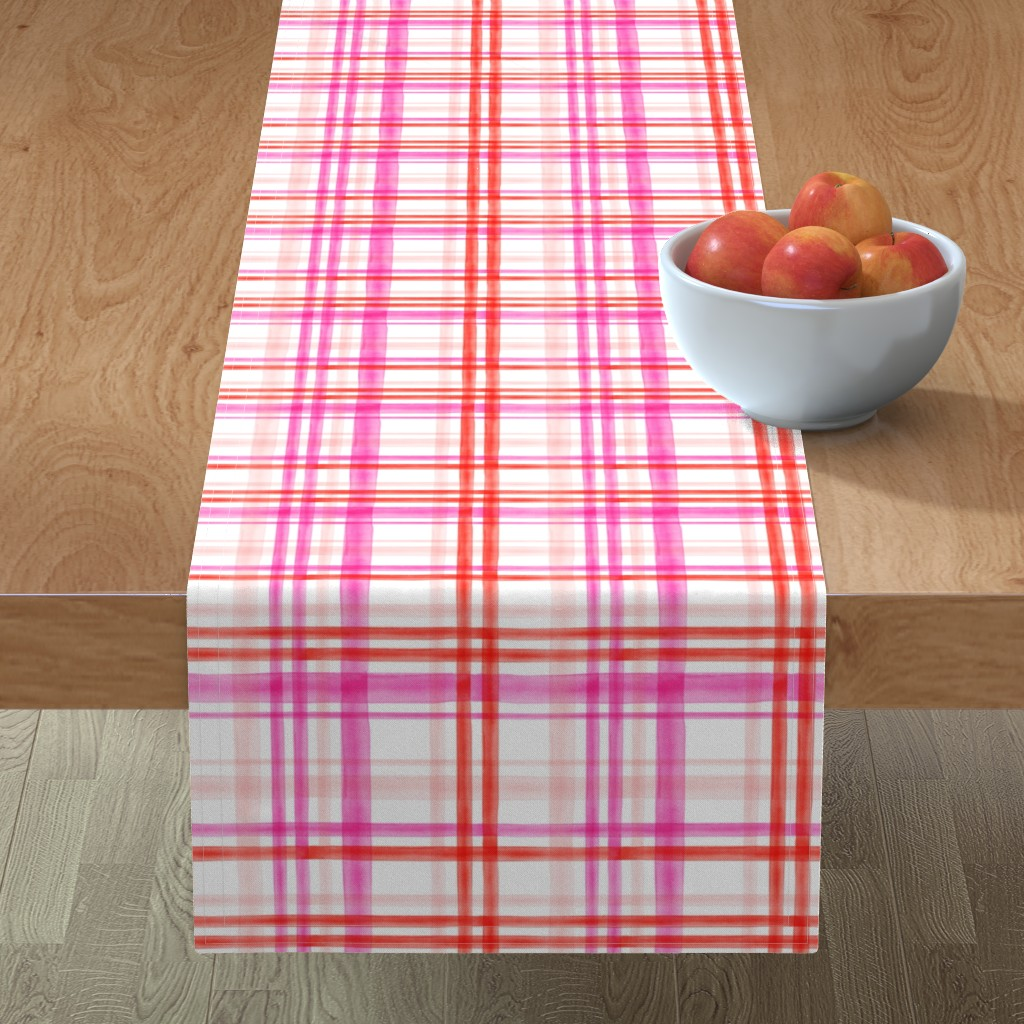Minorca Table Runner featuring valentines watercolor plaid by littlearrowdesign