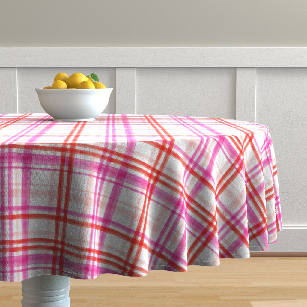 Malay Round Tablecloth featuring valentines watercolor plaid by littlearrowdesign