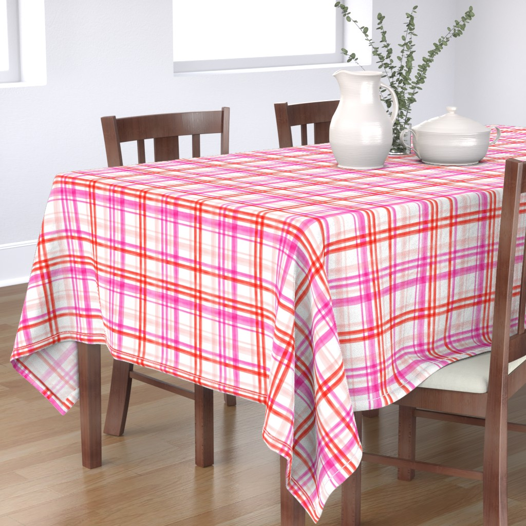 Bantam Rectangular Tablecloth featuring valentines watercolor plaid by littlearrowdesign