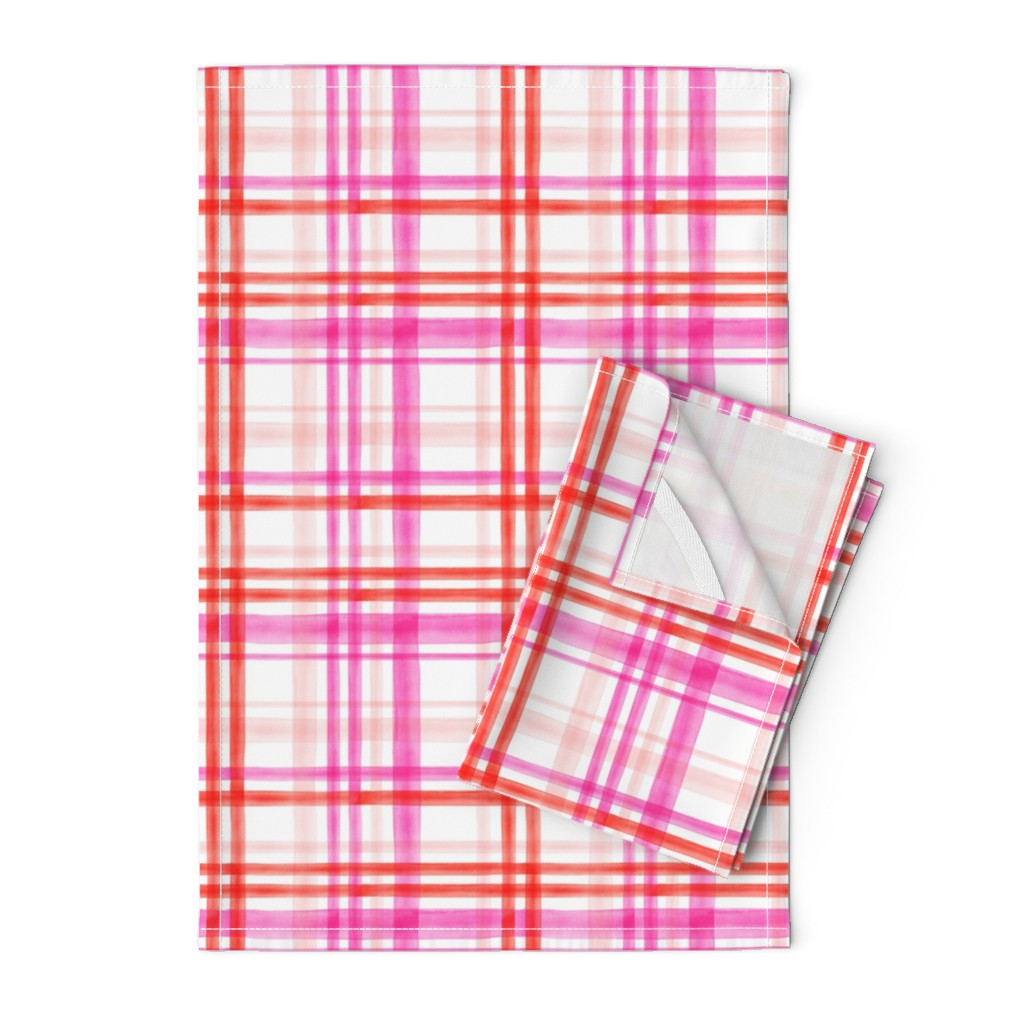 Orpington Tea Towels featuring valentines watercolor plaid by littlearrowdesign