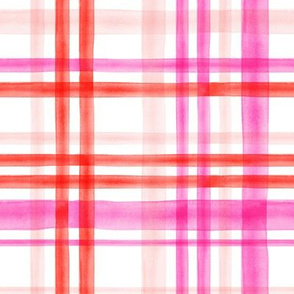 valentines watercolor plaid