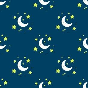 Moon & Stars - White Moon on Navy