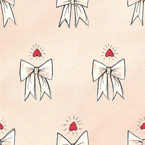 Bows & Hearts - Peach Pink Textured Pattern