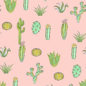 Cactus Print - Peach Textured Pattern