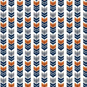 Feathered Arrow Orange Navy Grey