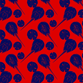 horseshoe crabs and sand dollars navy on red