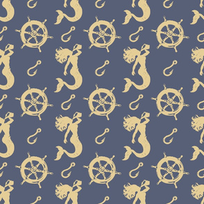 mermaids hooks and wheels blue and tan