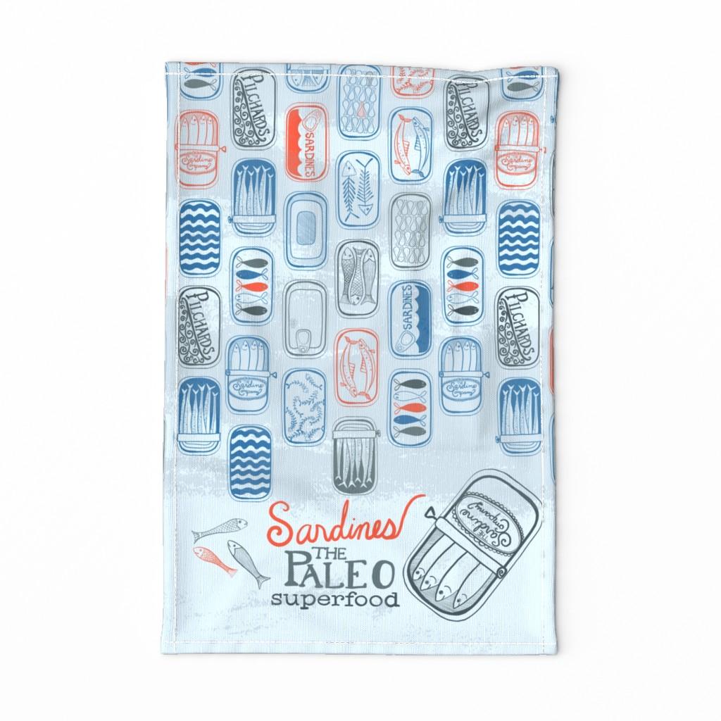 Special Edition Spoonflower Tea Towel featuring Sardines The Paleo Superfood Tea Towel by amberlynnbenton