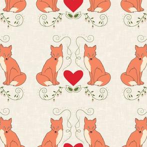 Fox & Heart - Orange Fox on Cream Texture