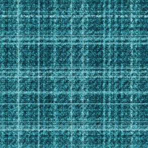 Tweed Plaid Turquoise Blue