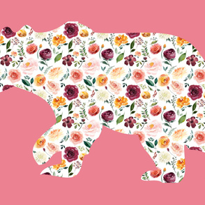 """54x36""""  Bear Silhouette on Pink Wholecloth Quilt Topper"""