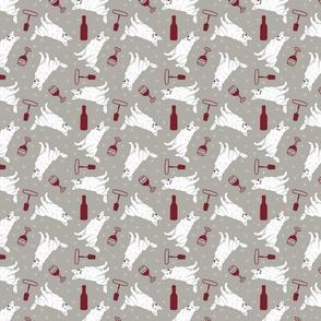 Tiny White Shepherd dogs - wine