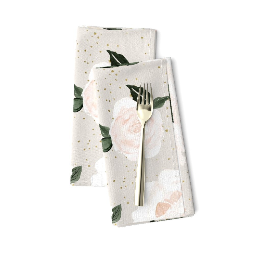 Amarela Dinner Napkins featuring vintage blush floral gray by crystal_walen