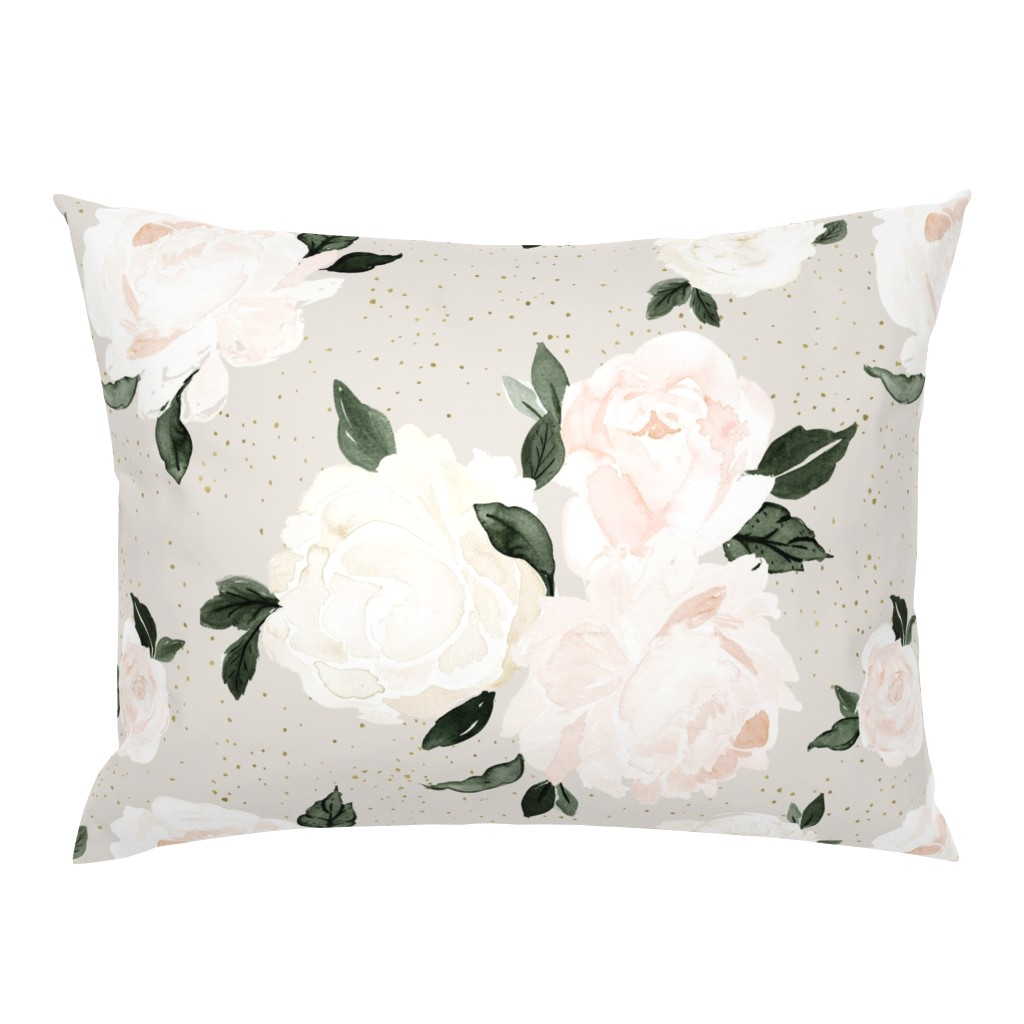 Campine Pillow Sham featuring vintage blush floral gray by crystal_walen