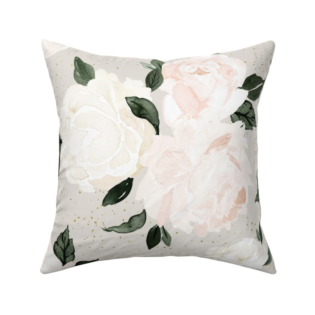 Catalan Throw Pillow featuring vintage blush floral gray by crystal_walen