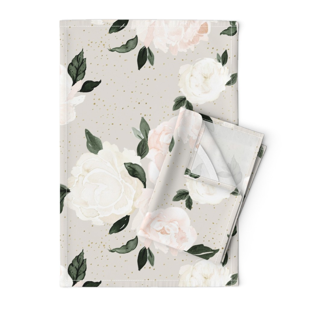 Orpington Tea Towels featuring vintage blush floral gray by crystal_walen