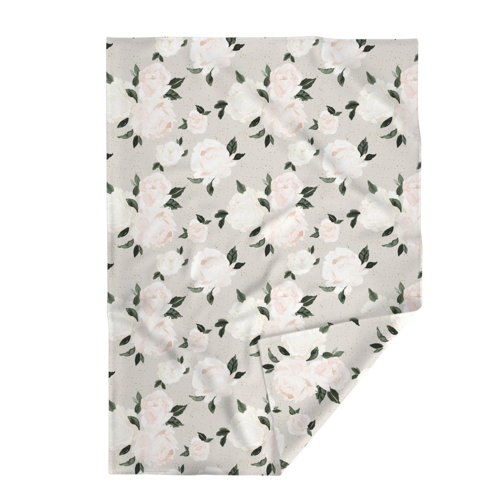 Lakenvelder Throw Blanket featuring vintage blush floral gray by crystal_walen