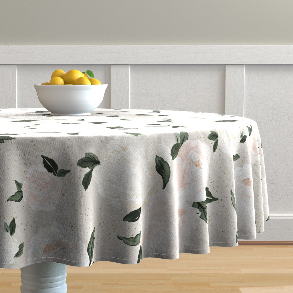 Malay Round Tablecloth featuring vintage blush floral gray by crystal_walen