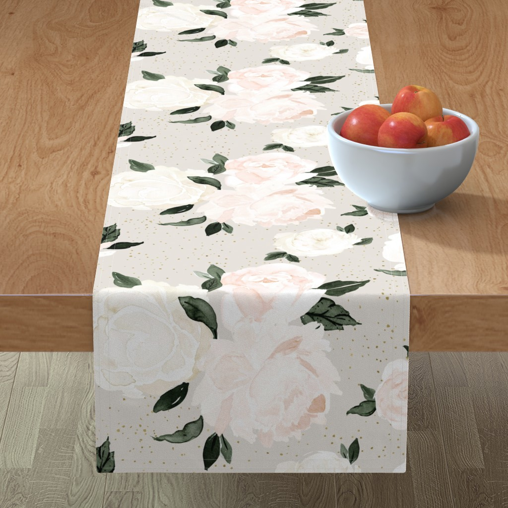 Minorca Table Runner featuring vintage blush floral gray by crystal_walen