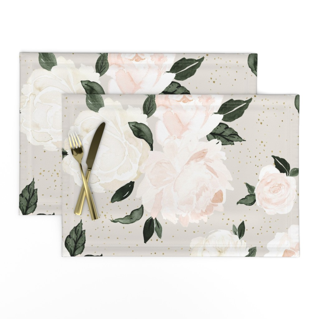 Lamona Cloth Placemats featuring vintage blush floral gray by crystal_walen