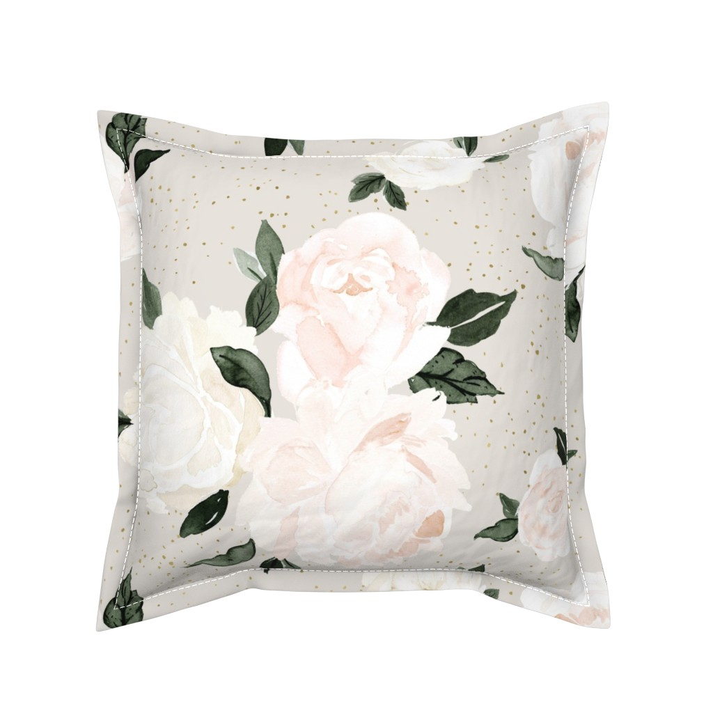Serama Throw Pillow featuring vintage blush floral gray by crystal_walen