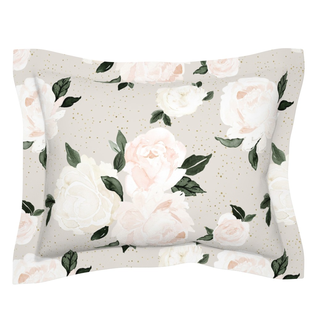 Sebright Pillow Sham featuring vintage blush floral gray by crystal_walen