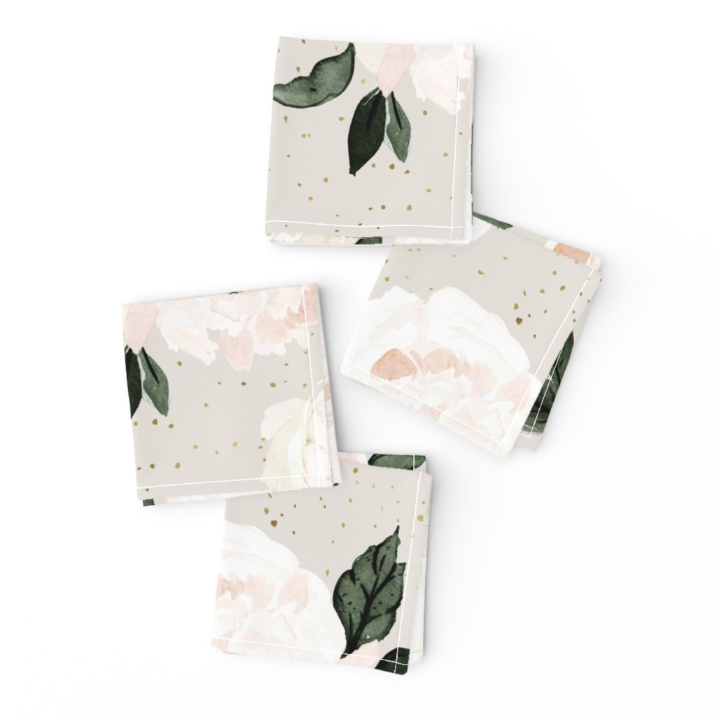 Frizzle Cocktail Napkins featuring vintage blush floral gray by crystal_walen