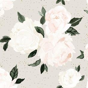 vintage blush floral gray