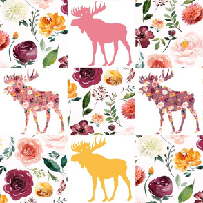 "Wholecloth Cheater Quilt Floral Moose 6"" Squares"