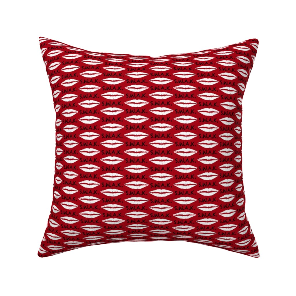 Catalan Throw Pillow featuring 1.5 Inch Black S.W.A.K. with White Lips on Dark Red by mtothefifthpower