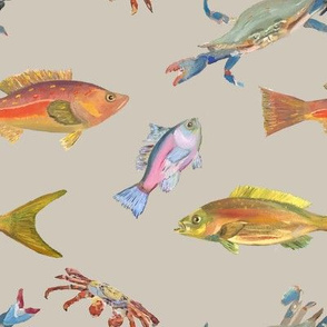 Heather's fish_Tshirt fabric