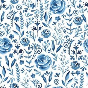 Blue flowers. Watercolor