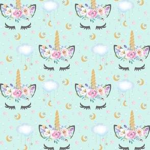 "2"" moon and stars sleepy unicorn mint"