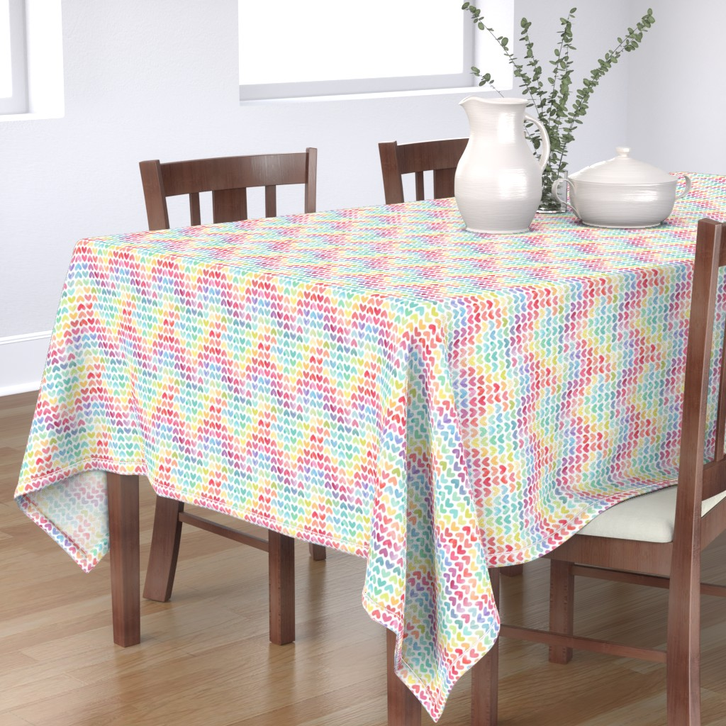 Bantam Rectangular Tablecloth featuring Rainbow Hearts // Small Scale by hipkiddesigns