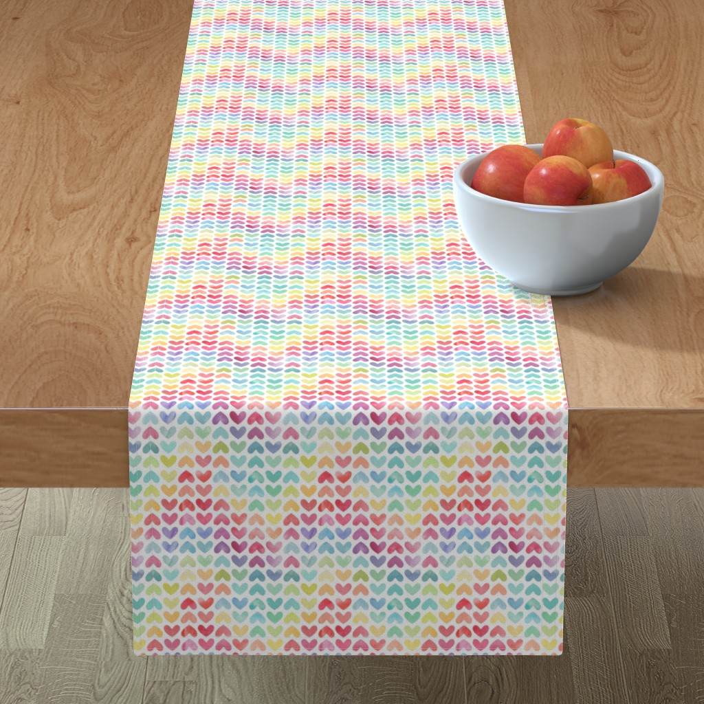 Minorca Table Runner featuring Rainbow Hearts // Small Scale by hipkiddesigns