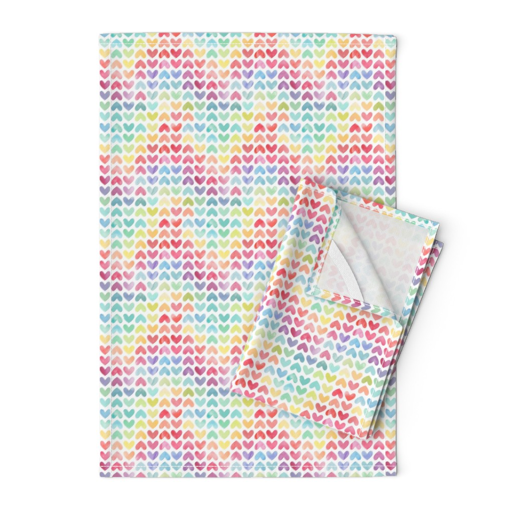 Orpington Tea Towels featuring Rainbow Hearts // Small Scale by hipkiddesigns