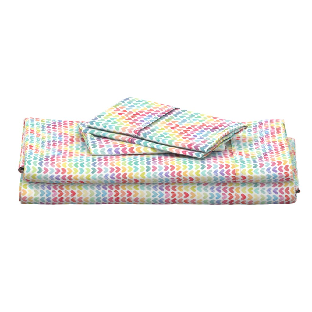 Langshan Full Bed Set featuring Rainbow Hearts // Small Scale by hipkiddesigns