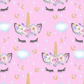 "2"" moon and stars sleepy unicorn pink"