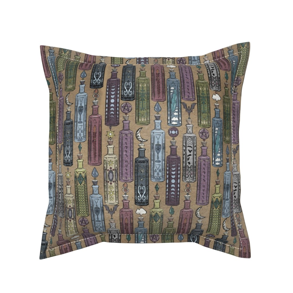 Serama Throw Pillow featuring Witch Bottles by tracy_dixon