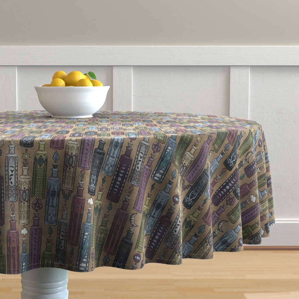 Malay Round Tablecloth featuring Witch Bottles by tracy_dixon