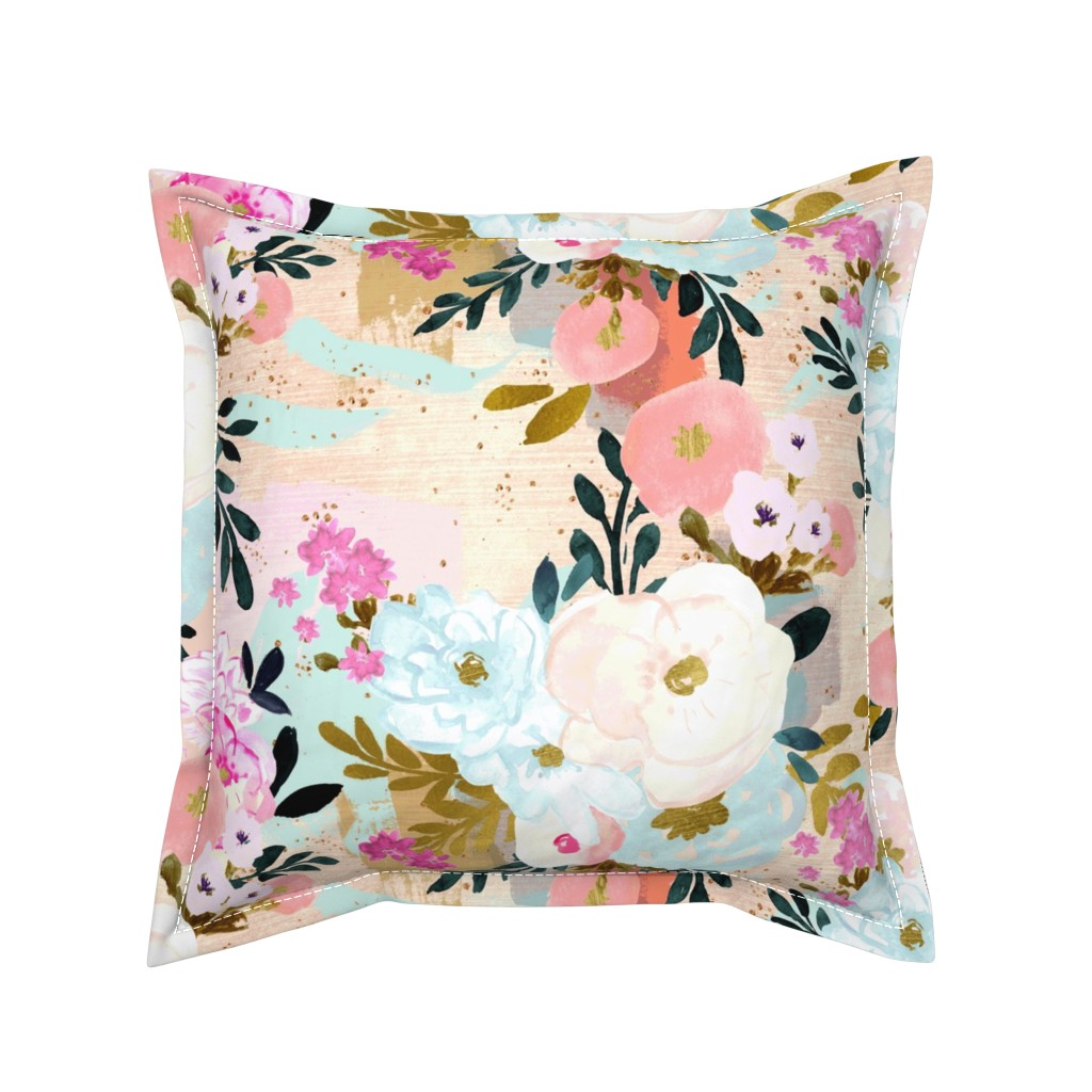 Serama Throw Pillow featuring florence painterly floral by crystal_walen