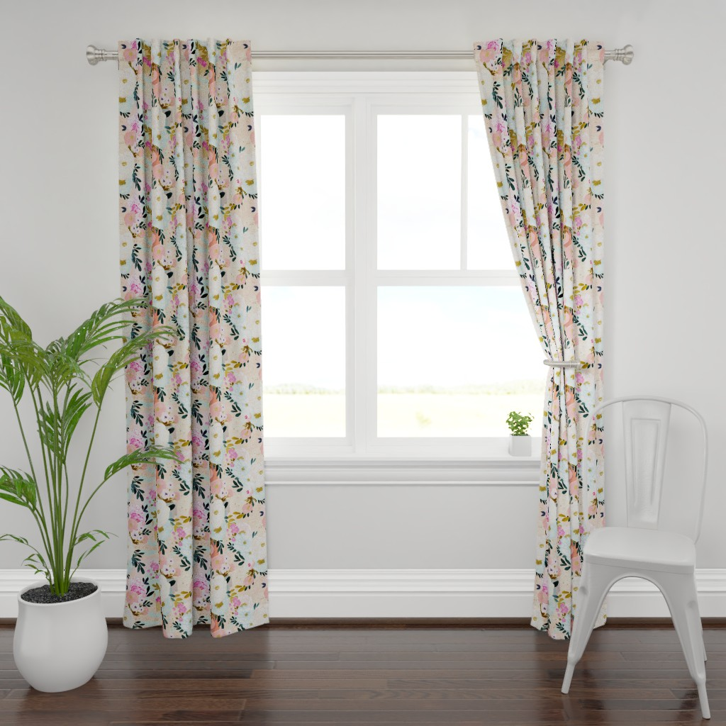 Plymouth Curtain Panel featuring florence painterly floral by crystal_walen