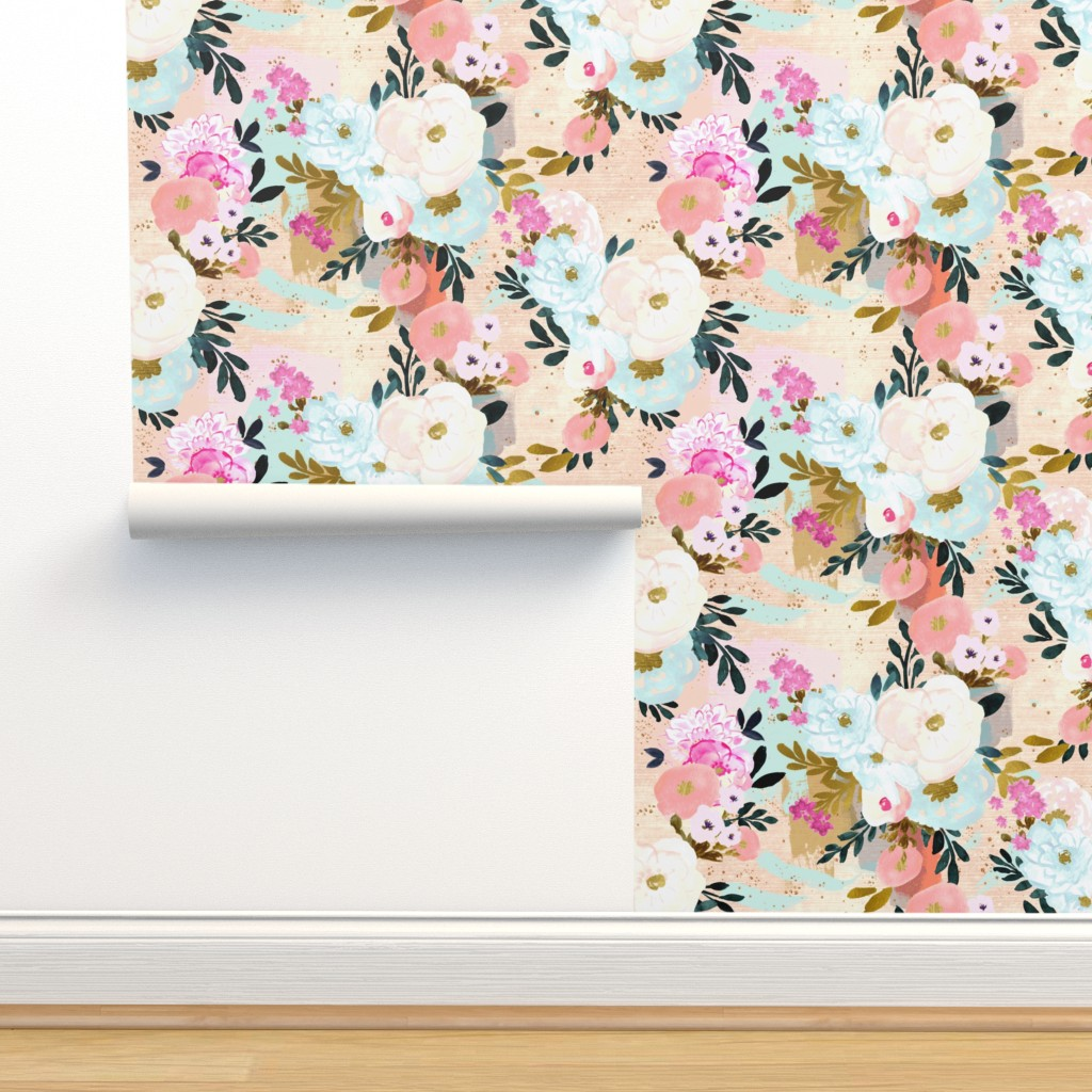 Isobar Durable Wallpaper featuring florence painterly floral by crystal_walen