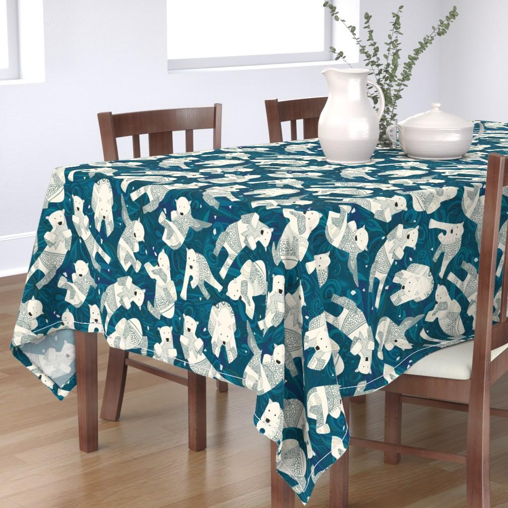 Bantam Rectangular Tablecloth featuring arctic polar bears blue by scrummy