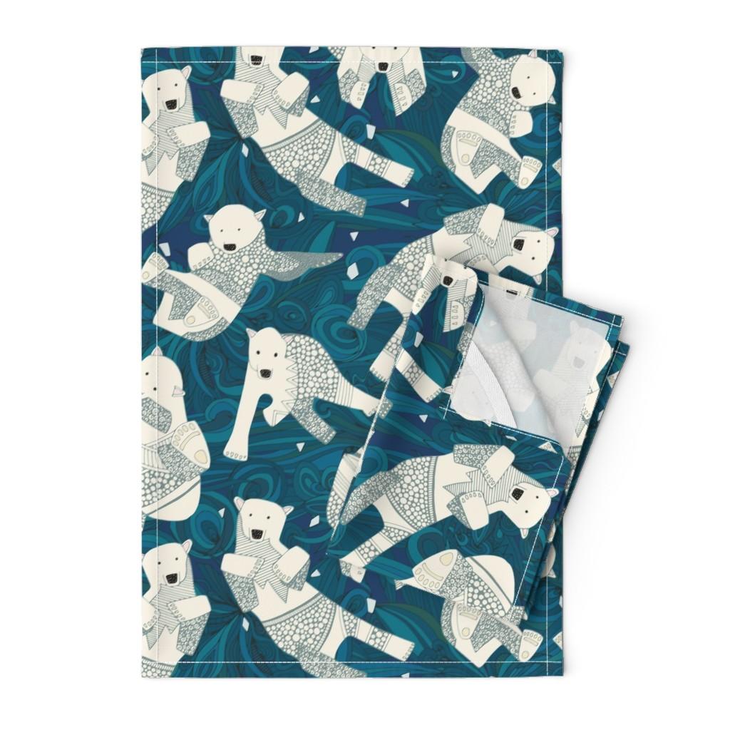 Orpington Tea Towels featuring arctic polar bears blue by scrummy