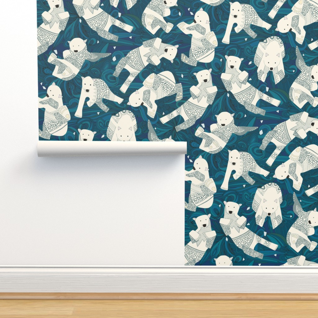 Isobar Durable Wallpaper featuring arctic polar bears blue by scrummy
