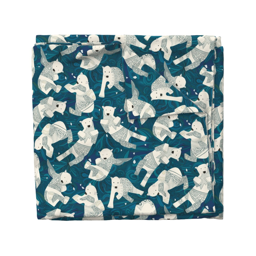Wyandotte Duvet Cover featuring arctic polar bears blue by scrummy