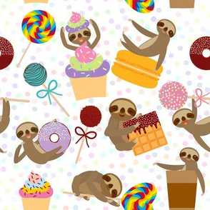 funny sloth dreamer about sweets
