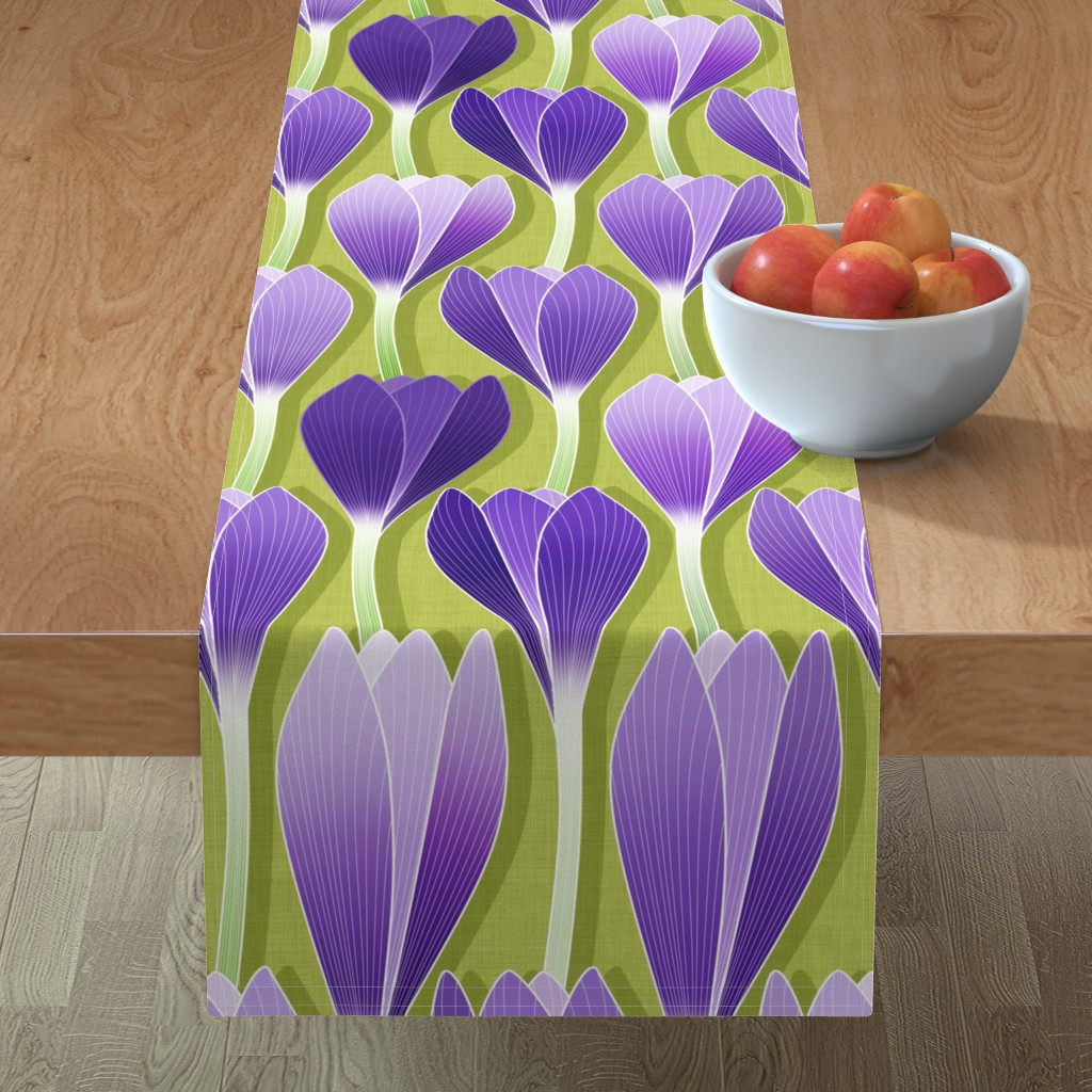 Minorca Table Runner featuring Saffron Garden by spellstone