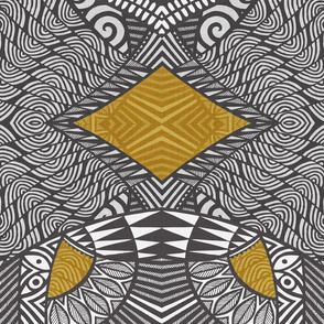 Tribal Wings charcoal and gold